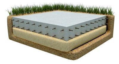 Плитный фундамент (схематическое изображение)
